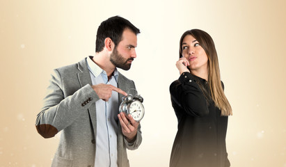 Angry man because his girlfriend has been late for an appointmen