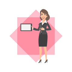 Businesswoman holding tablet and smiling