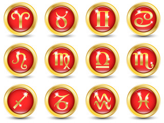 Set of the Golden Zodiac Signs. Vector