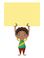 Kid holding empty yellow note, blank sign