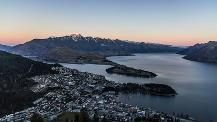 Aerial timelapse of Queenstown, South Island, New Zealand