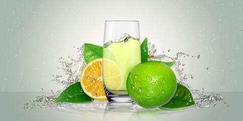 Lemon juice glass and lime fruit.