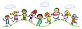 Fototapety Kinder halten Hände in der Natur