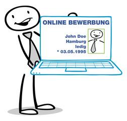 Mann zeigt Online-Bewerbung auf Computer