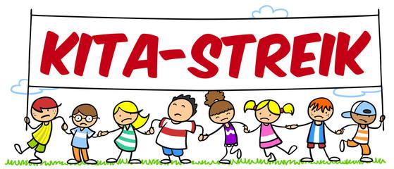 Kinder beim Kita-Streik