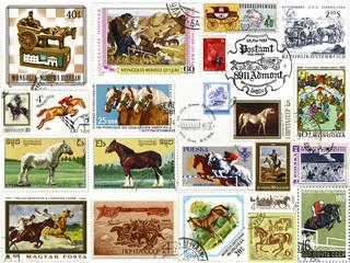 Лошади.Коллаж из почтовых марок и печатей