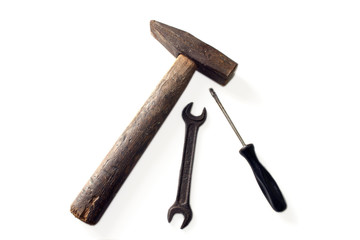 hammer and wrench on a white background