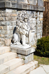 Lion Statue in the garden of the Peles Castle, Romania