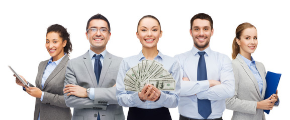 group of business people with dollar cash money