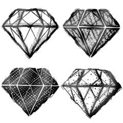 Hand drawn diamond symbol. Sketch of gemstone sign as doodle