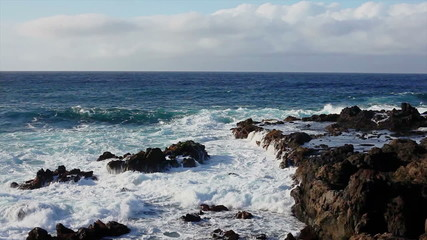 Waves on a rocky bech in Tenerife