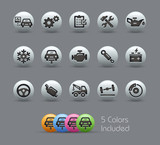 Car Service Icons Pearly Series, EPS includes 5 color versions.