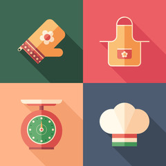 Set of cooking flat square icons with long shadows.