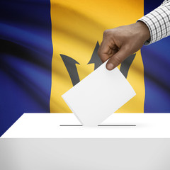 Ballot box with national flag on background series - Barbados