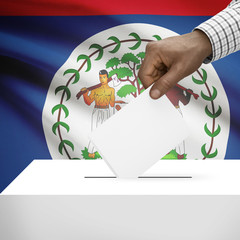 Ballot box with national flag on background series - Belize