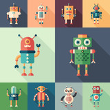 Set of colorful robots flat square icons with long shadows.