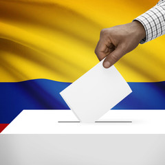 Ballot box with national flag on background series - Colombia