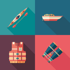Set of water sports flat square icons with long shadows.