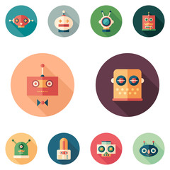 Set of colorful robots flat round icons with long shadows.