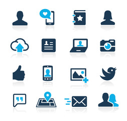 Icons Set for social communications Azure Series