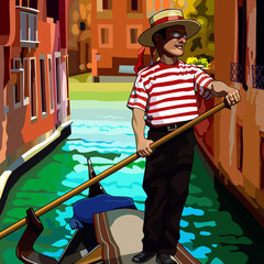 cartoon man gondolier on the boat floating between houses