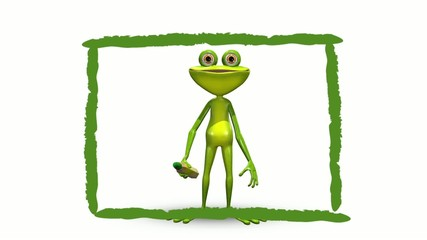 Animation frog draws green frame