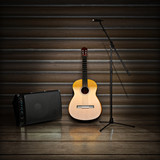 Music themed background with acoustic guitar.