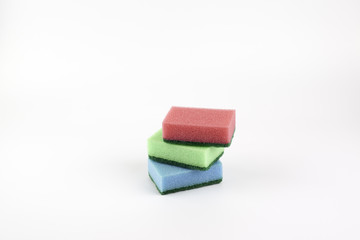 Different colored cleaning sponges