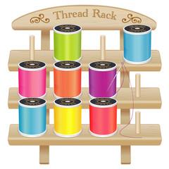 Wood Rack, 3 shelves, spool pegs, sewing thread, silver needle