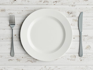 Mock up plate on white wooden table