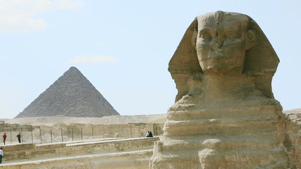 The Sphinx and Menkaure's pyramid, Giza Necropolis