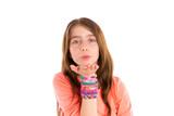 Loom rubber bands bracelets blond kid girl blowing