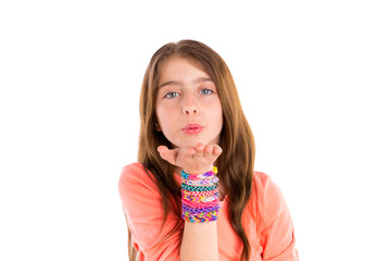 Loom rubber bands bracelets blond kid girl blowing