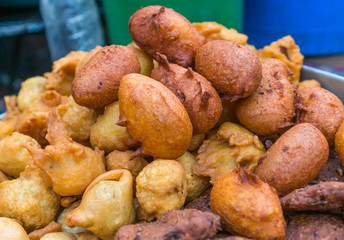 Vegetable pakoras, a mouth watering street food in south Asia.