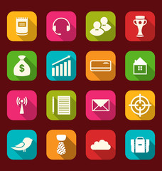 Collection simple flat icons of business and financial items, wi