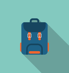 Flat Icon of Backpack with Long Shadow on blue background