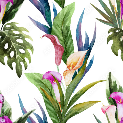 Tropical watercolor seamless pattern - 82580063