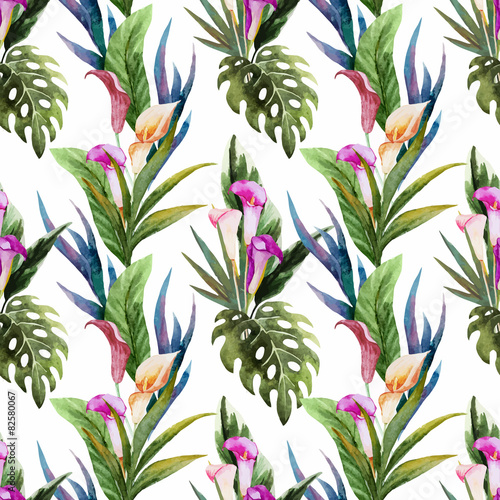 Tropical watercolor seamless pattern - 82580067