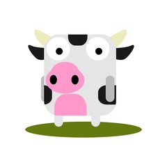 Cute Cow with large eyes cartoon