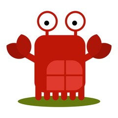 Cute Crab with large eyes cartoon