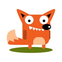 Cute Fox with large eyes cartoon