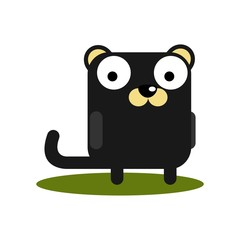Cute Puma with large eyes cartoon