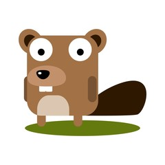 Cute Beaver with large eyes cartoon