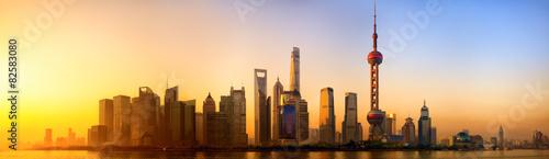 Staande foto Shanghai Pudong panorama at sunrise, Shanghai, China
