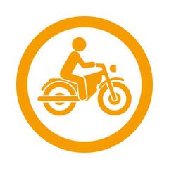 Icono redondo motorista naranja