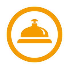 Icono redondo timbre hotel naranja