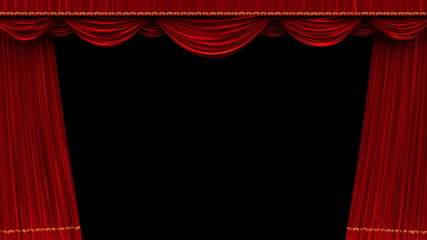 High detail red velvet theater curtain opening with alpha matte.
