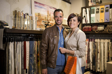 Shopping couple at decoration store