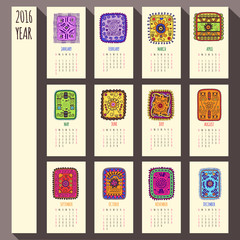 2016 year ethnic calendar design, English, Sunday start
