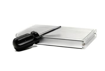 screwdriver and an external hard drive